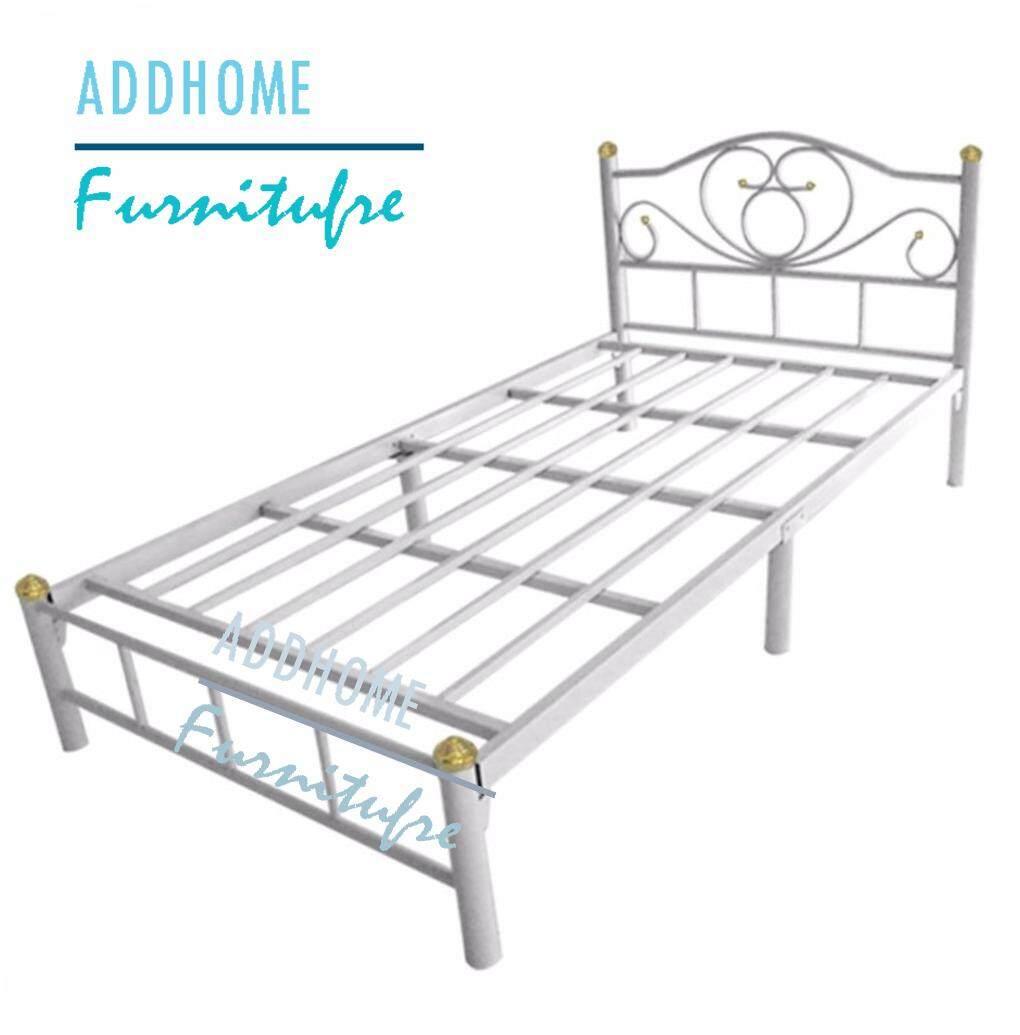 Addhome เตียงเหล็ก ขากว้าง 2 นิ้ว ขนาด 3.5 ฟุต รุ่น Lotus-3.5 (สีขาว) By Addhome Furniture.