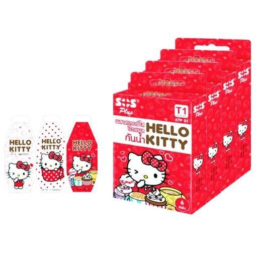 Hello Kitty พลาสเตอร์ใส ปิดแผลกันน้ำ Sos Plus รุ่น T1 จำนวน 1 กล่อง 14275.