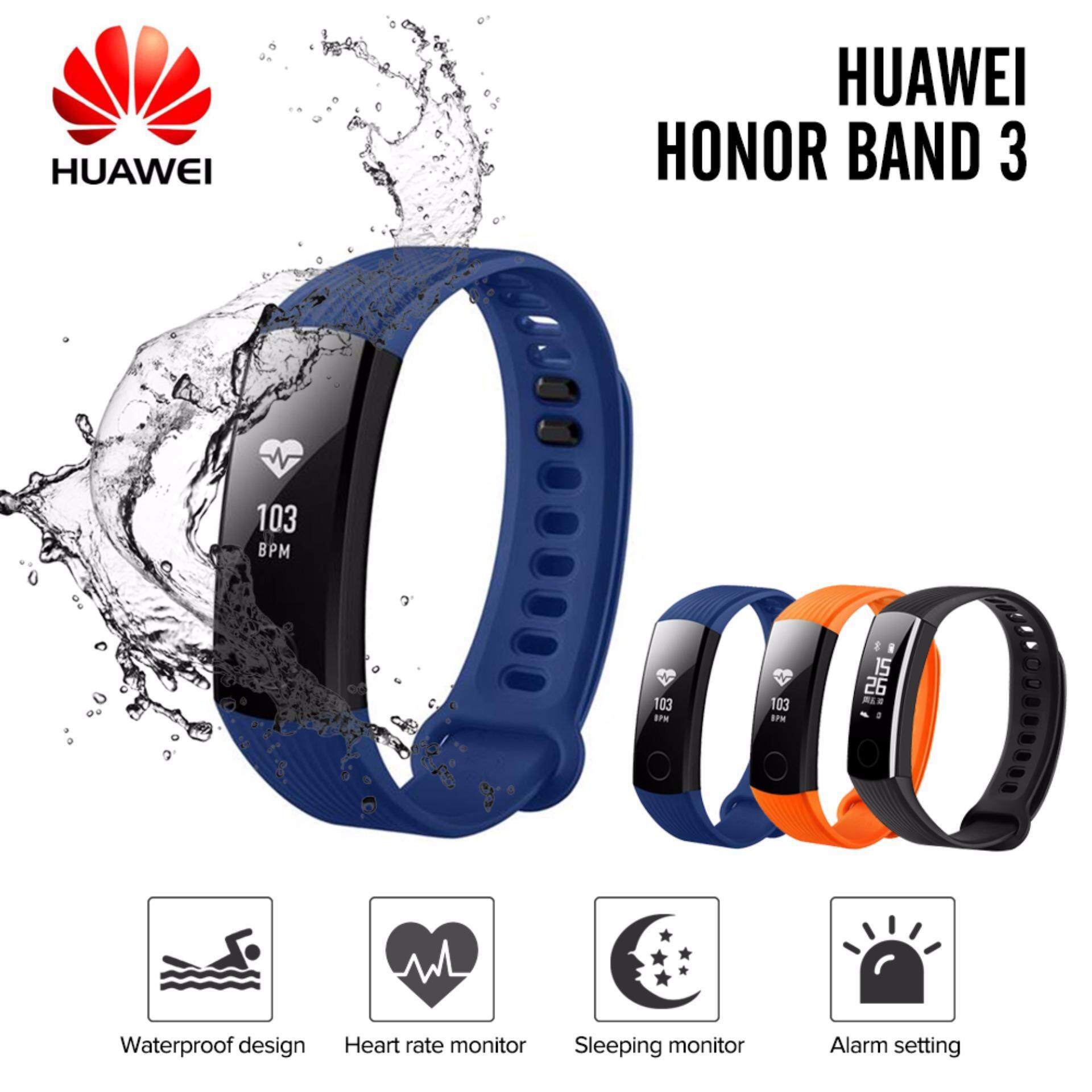 (50m Waterproof) Original HUAWEI Honor Band 3 Smartband Heart Rate Monitor Calories Consumption Pedometer Smart Bracelet Wristband for Swimming Fitness Tracker for Android iOS