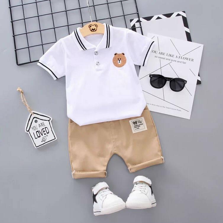 Baby ชุดเด็กเซต 2 ชิ้น เสื้อเชิ้ต แขนสั้น ลายหมี + กางเกง เอวยางยืด (สีขาว) เสื้อผ้าเด็ก