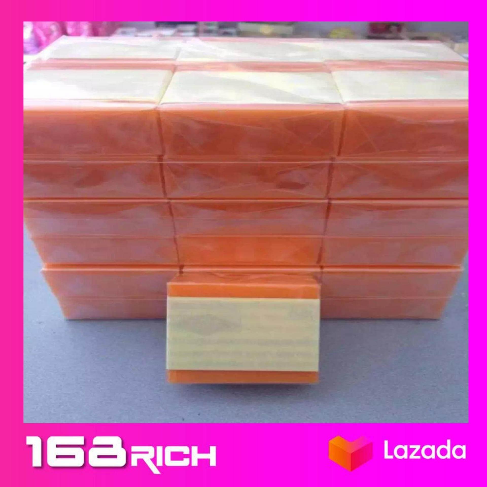 ( ยกแพ็ค 12ก้อน) สบู่ส้มธรรมชาติ สบู่ ส้ม มะละกอ สบู่พม่า หน้าใส 70กรัม ×12ก้อน
