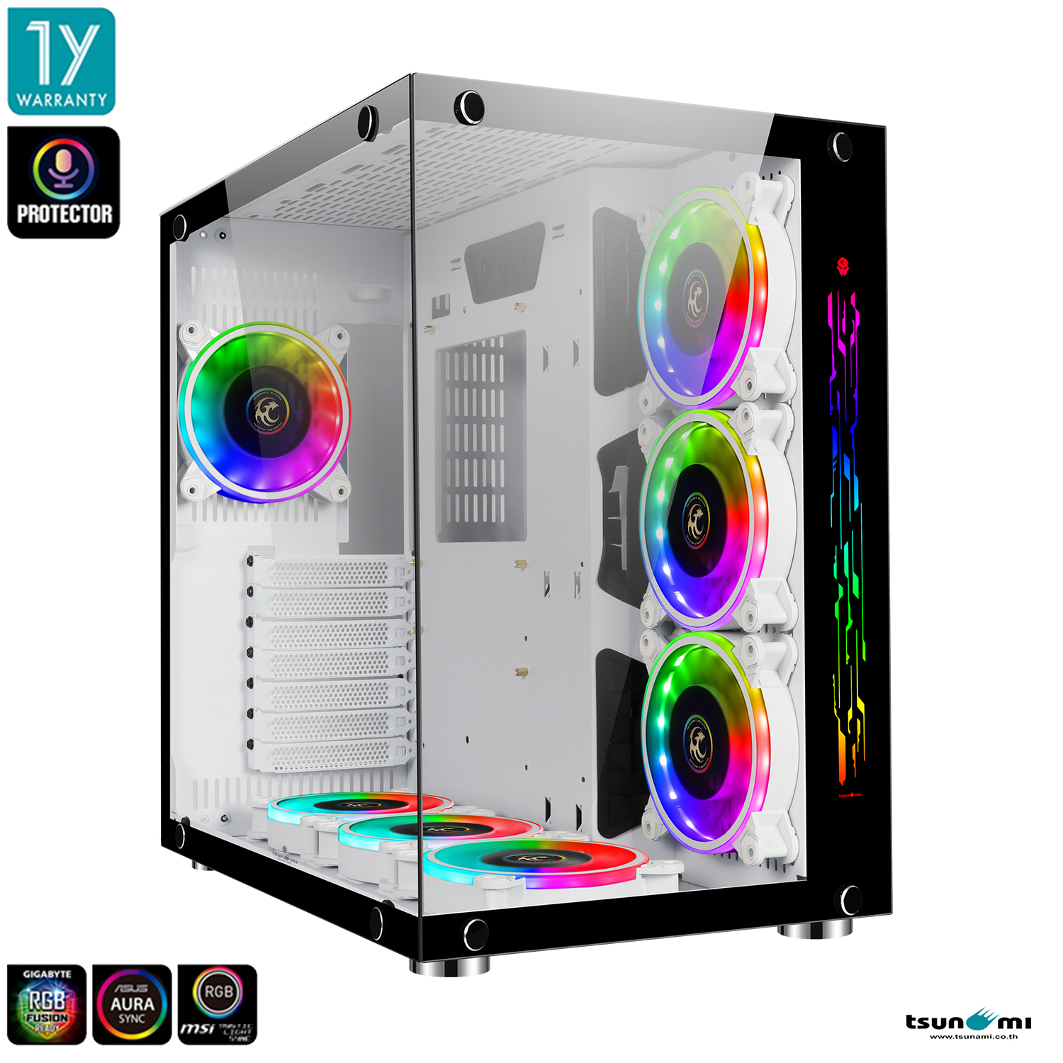 Tsunami Protector Vision Sound Sync Argb Panorama Tempered Glass Atx Gaming Case With Protector 1262 12cm Argb Cooling Fan*7