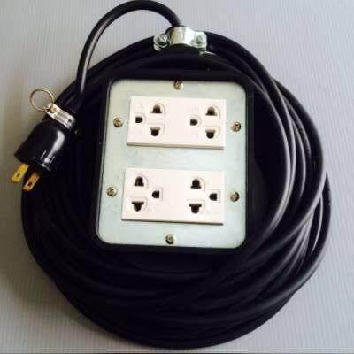 บีอกไฟฟ้าพร้อมสาย บ๊อกยางเต้าเสียบ 4ที่ พร้อมสายดำหุ้มฉนวน 2ชั้นยาว 10เมตร และปลั้กเสียบยางพร้อมใช้งาน ผลิตจากโรงงานประเทศไทย ที่ผ่านมาตรฐานไฟฟ้า