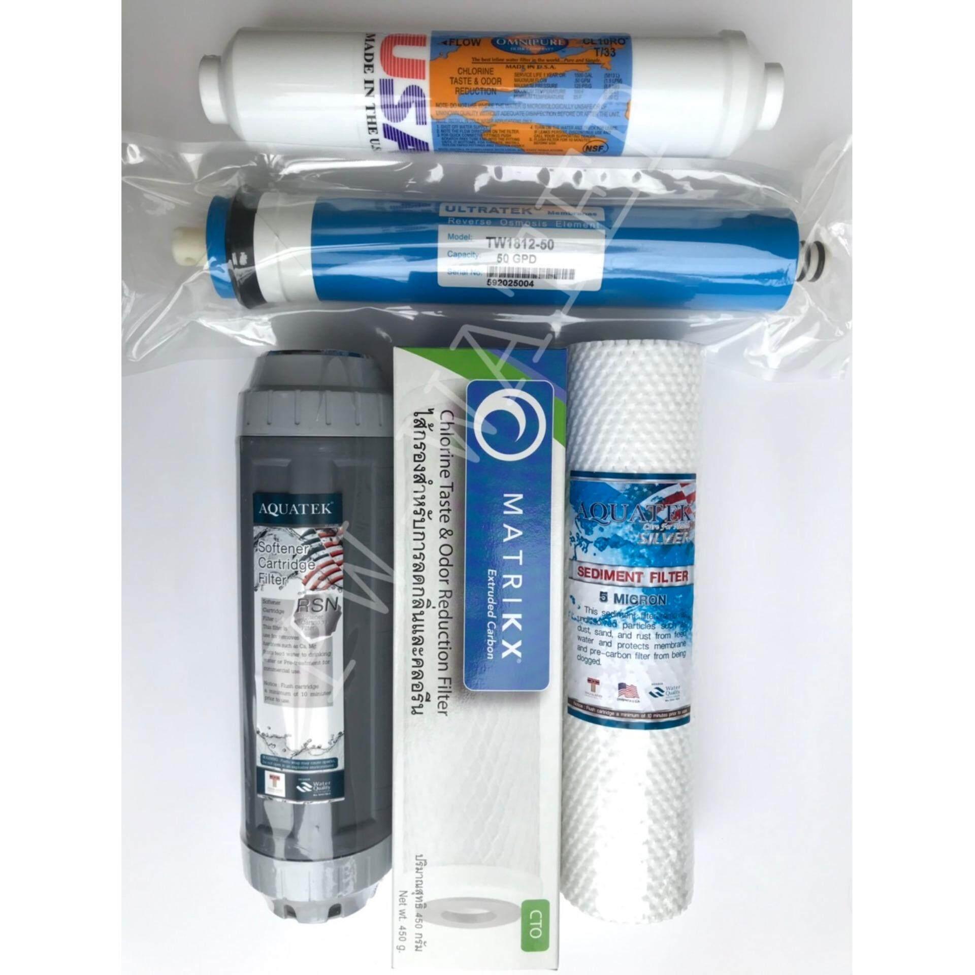 Aquatek  ชุดไส้กรองน้ำ Ro 50 Gpd (set Premium).