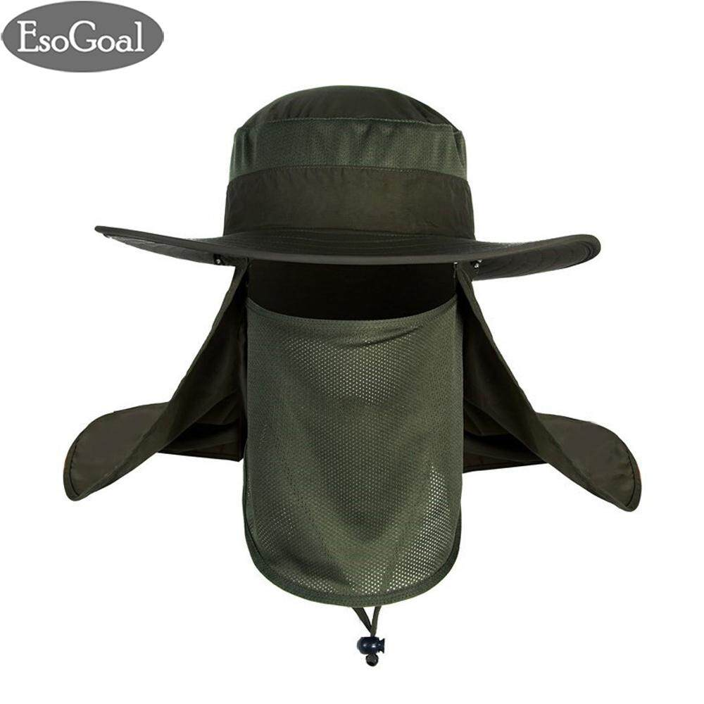 EsoGoal หมวกกันแดด หมวกกันแดดหมวก หมวกผู้หญิง   Fishing Sun Hat UV Protection 360° Wide Brim Sun Visor Hat Removable Neck Face Mask Flap Cover Cap for Fishing Gardening Beach Camping Boating with Free Arm Sleeves