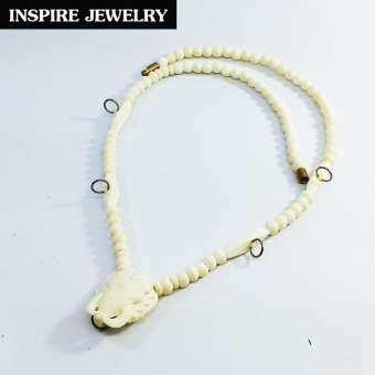 Inspire Jewelry ,สร้อยคอกระดูกช้างเกรดA งาน Design handmade มีหัวช้างแกะห้อยพระได้ 5องค์ ขนาด 32 นิ้ว เปิดปิดโดยบิดเกลียวทองเหลือง ให้โชคลาภเสริมอำนาจวาสนา ป้องกันสิ่งอัปมงคล-