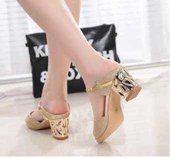 รองเท้าแตะฤดูร้อนหญิงที่มี 2018 เสื้อผ้าแฟชั่น สำหรับฤดูร้อนใหม่สไตล์เกาหลีเข้าได้หลายชุดส้นสูงเซ็กซี่ปากปลารองเท้าแตะใส่ด้านนอกแฟชั่นรองเท้าแตะ-