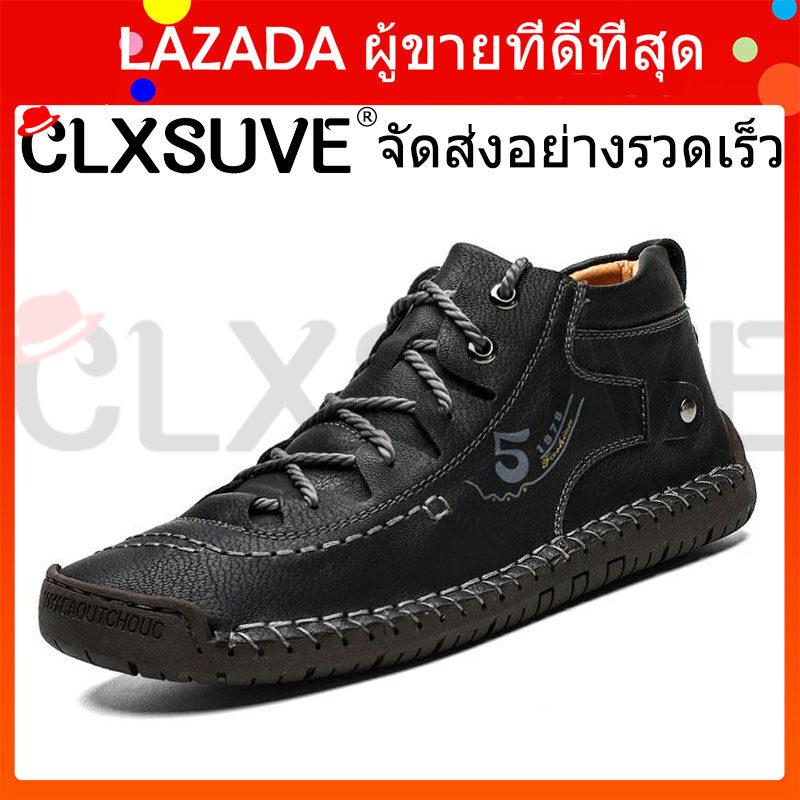 CLXSUVE หนังผู้ชายรองเท้าสบายๆสไตล์อังกฤษสบายแฟชั่นผู้ชายเดินรองเท้าขนาดใหญ่สีน้ำตาลสีดำชายแบนรองเท้า สี ดำ