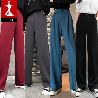 กางเกงเอวบาง สไตล์ใหม่ กางเกงลำลอง กางเกงขากว้าง กางเกงผู้หญิง กางเกงขายาวใส่แล้วดูผอม กางเกงลำลอง ไซส์ใหญ่