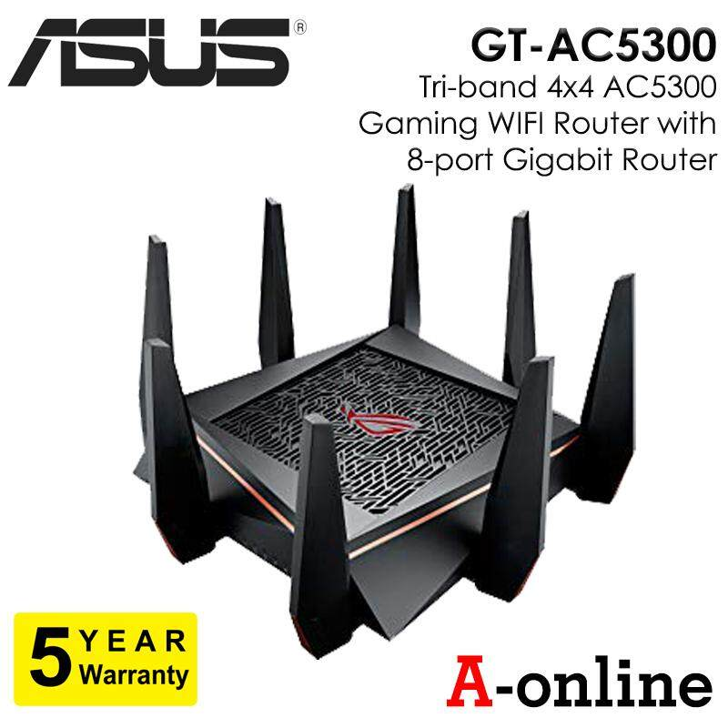 Asus Rog Rapture Gt-Ac5300 Tri-Band 4x4 Ac5300 Gaming Wifi Router With 8-Port Gigabit Router/ana/aonline.