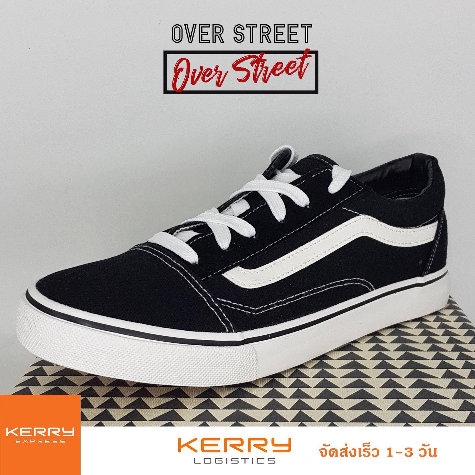 Overstreet รองเท้าผ้าใบผู้ชาย สีดำ(black) ยอดนิยม สวมใส่ง่ายสบาย ออกเที่ยว เท่ๆ แนวสตรีท !!!!.