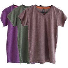 ขาย Chahom เซตเสื้อยืดคอวี สีน้ำตาลท็อปดาย สีเขียวท็อปดาย สีม่วงท็อปดาย 3 ตัว เป็นต้นฉบับ