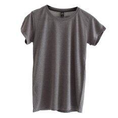 ส่วนลด สินค้า Chahom เสื้อยืดคอกลม สีเทาอ่อนท็อปดาย
