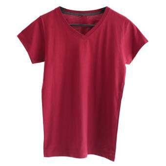Chahom เสื้อยืดคอวี  ( สีแดงเลือดหมู )