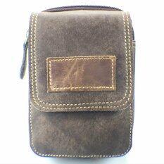 ราคา Chinatown Leather กระป๋าหนังแท้ใส่มือถือร้อยเข็มขัดฝาหน้าใส่ 2 เครื่อง I6 น้ำตาลเข้ม ใหม่ ถูก
