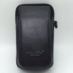 โปรโมชั่น Chinatown Leatherกระเป๋าหนังแท้ใส่มือถือร้อยเข็มขัดรุ่นมือถือหนังแท้3เครื่องฝายาวตั้งIphone6 สีดำ
