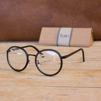 CHINTA แว่นชินตา แว่นวินเทจ ทรงกลมใหญ่ กรอบสีดำ เลนส์ใส