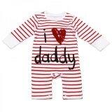ขาย ชุด Bodysuit ลายทาง สีขาว แดง ลาย I Love Daddy ราคาถูกที่สุด