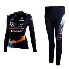 ราคา ชุดขี่จักรยานแขนยาวขายาว ผู้หญิง Bianchi ดำ เป็นต้นฉบับ