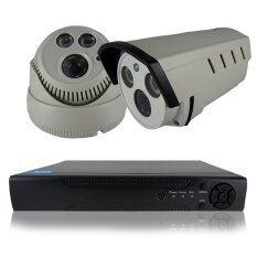 ชุดกล้องวงจรปิดกล้อง CCTV KIT/SET 1200 TVL 2ตัว ทรงกระบอก และโดม 1.0 ล้านพิกเซล HD เครื่องบันทึก 4 ช่อง