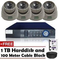 ชุดกล้องวงจรปิดกล้อง CCTV 4ตัว โดม 1.3MP 720p HD และอนาล็อก เครื่องบันทึก4ช่อง ฟรี สายเคเบิลสีดำ 100 เมตร + ฟรี ฮาร์ดดิสก์ 1TB