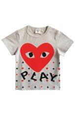 ราคา ราคาถูกที่สุด Ci Si เสื้อยืด ลายหัวใจ Play สีเทา แดง
