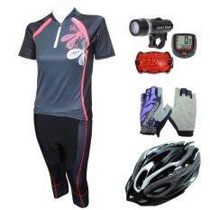 CMA ชุดปั่นจักรยานผู้หญิงขา 5 ส่วน ST สีดำ+หมวกจักรยาน H-18 สีขาว+ถุงมือฟรีไซด์ ลายดอกไม้ - สีม่วง+ไมค์จักรยาน สีแดง+ไฟชุดจักรยาน 5 Led รุ่น WJ-101 (สีดำ)
