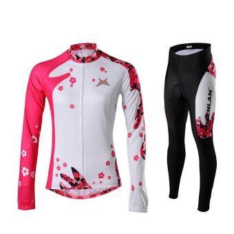 CMA COOLMAX ชุดขี่จักรยานผู้หญิงขายาวแขนยาวลายดอกไม้ (สีแดง/ขาว)