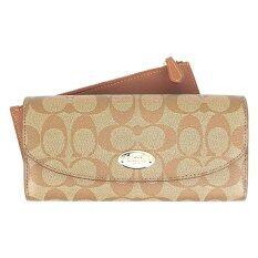ส่วนลด Coach กระเป๋าสตางค์สำหรับผู้หญิง รุ่น F52601 สีน้ำตาล กากี Coach