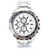 ราคา Cocotina Fashion Men Stainless Steel Band Sport Analog Quartz White Dial Casual Wrist Watch