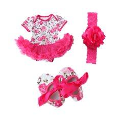 ราคา Cocotina Newborn Baby Girls Floral Romper Dress Jumpsuit Outfits Headband Shoes Rose Red Cocotina จีน