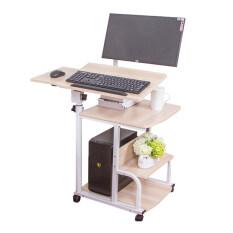 ราคา Computer Desk ชั้นวางคอมพิวเตอร์ตั้งโต๊ะ มีล้อ สีน้ำตาลอ่อน ราคาถูกที่สุด
