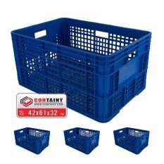 ขาย Containy ลังพลาสติกโปร่ง Box 8070 สีน้ำเงิน 3 ใบ ขนาด 42 X 61 X 32 ซม Containy เป็นต้นฉบับ