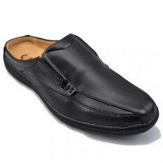 Csb รองเท้าหนังแบบสวมเปิดส้น ผู้ชาย Csb รุ่น Cm421 สีดำล้วน เป็นต้นฉบับ