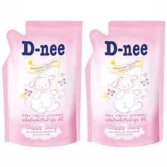 D-neeน้ำยาปรับผ้านุ่ม ชนิดเติม- 600มล.สีชมพู2ห่อ-