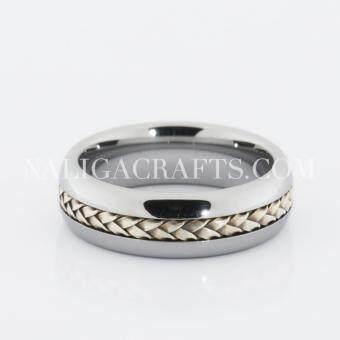 แหวนทังสเตนคาร์ไบด์ ฝังเงินแท้สาน (6มม.)