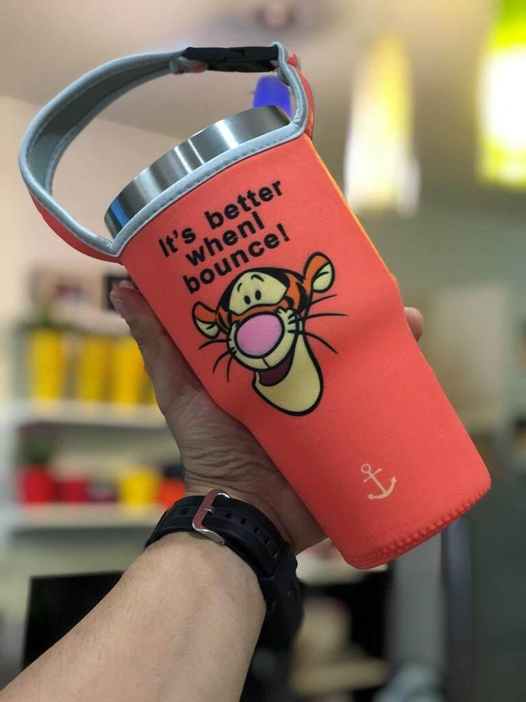 ถุงใส่แก้วเยติ แก้วเก็บความเย็น งานเย็บ เข้ารูปช่วยถนอมแก้ว ลายเสือ.