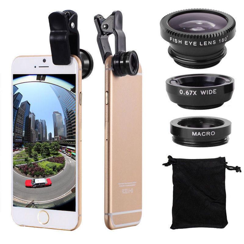 เลนส์เสริมมือถือ Universal Clip Lens 3in1 ให้ภาพมุมกว้าง ถ่ายมาโครได้ง่าย Free ถุงผ้าเก็บเลนส์กล้องโทรศัพท์มือถือ พร้อมส่ง.