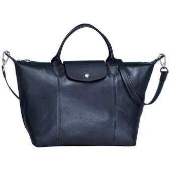 กระเป๋าหนังแท้ Longchamp LE PLIAGE CUIR HANDBAG สี  Navy Size M  (MADE IN FRANCE)-