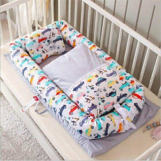 D2kids เบาะเด็กอ่อนพร้อมผ้าห่มผ้าคอตต้อน100% ลายการ์ตูนน่ารัก