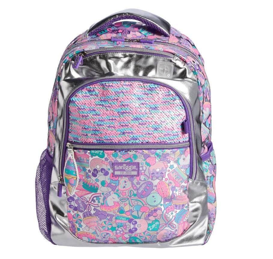 ✈✈ Smiggle Flashy Backpack กระเป๋าเป้สมิกเกอ สีเงิน Flip เปลี่ยนสีได้  ของแท้ ✈✈ Aud พร้อมส่ง!!.