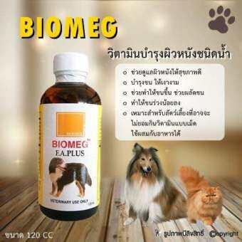 BIOMEG อาหารเสริมสุนัข วิตามิน บำรุงขน ชนิดน้ำ รักษาโรคผิวหนัง สำหรับสัตว์เลี้ยง 120 ซีซี โดย Yes pet shop-