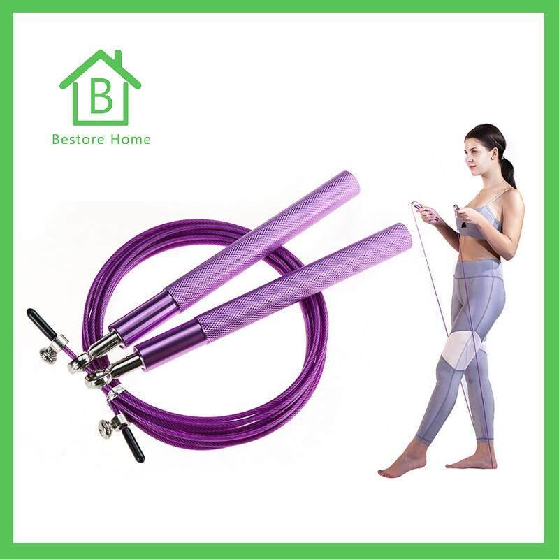 Bestorehome เชือกกระโดด ด้ามอลูมิเนียม สายเคเบิลโลหะหุ้ม Pvc ทนทาน ออกกำลังกาย ลดไขมัน สร้างกล้าม.