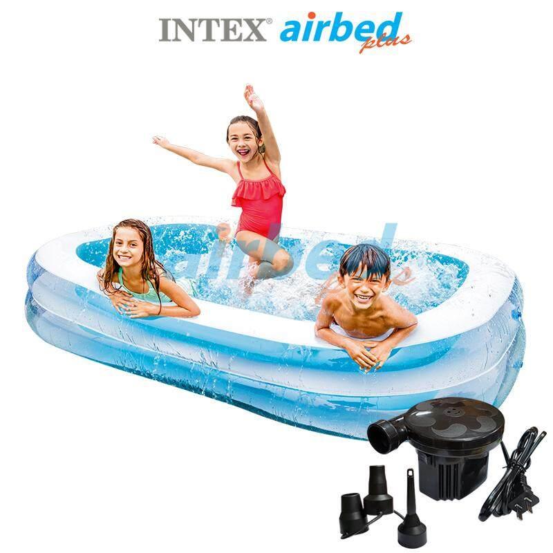 Intex ส่งฟรี สีใหม่ สระน้ำเป่าลม สี่เหลี่ยม แฟมิลี่ 2.62x1.75x0.56 ม. รุ่น 56483 + ที่สูบลมไฟฟ้า By Airbedplus.