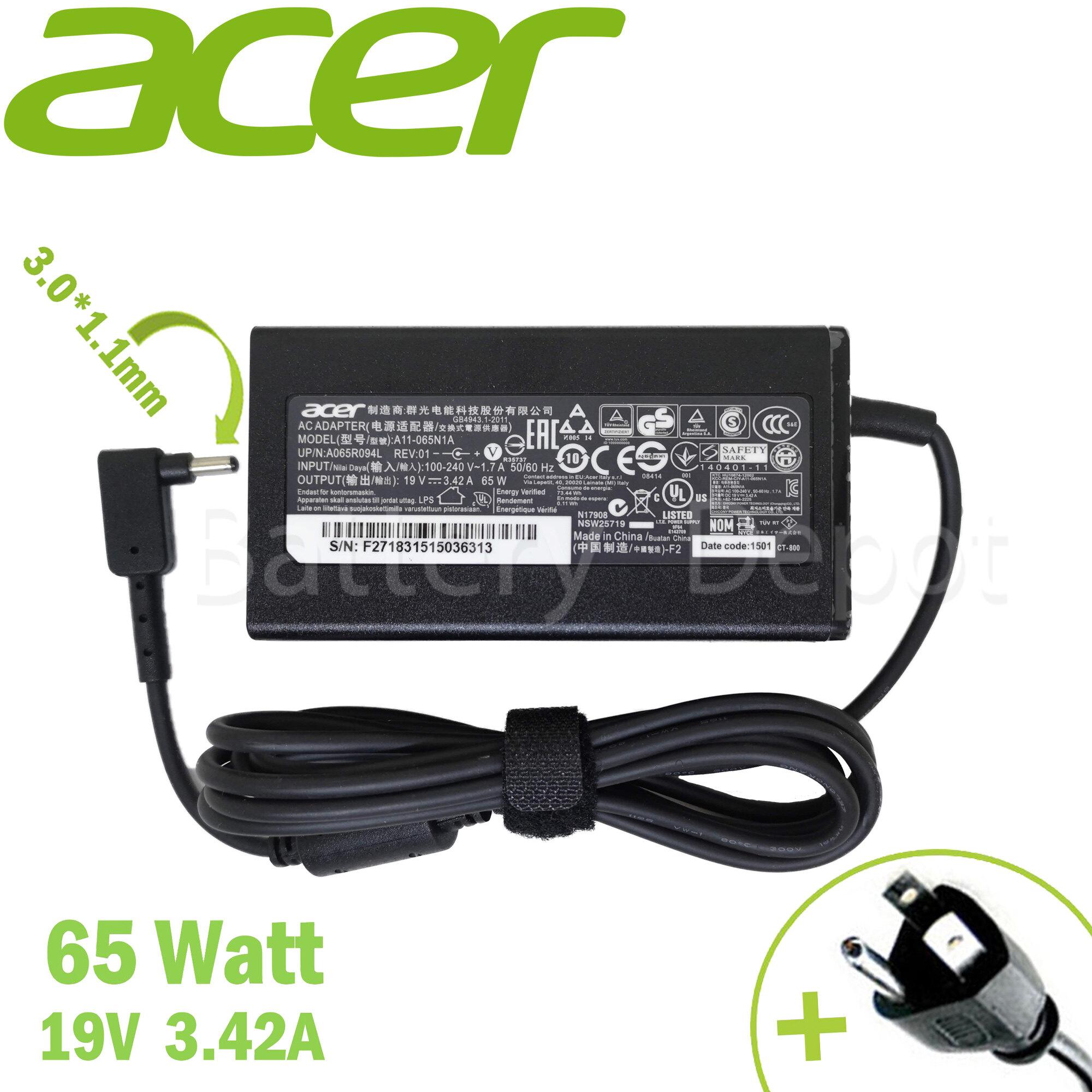 Acer Adapter ของแท้ 19v/3.42a 65w หัวขนาด 3.0*1.1mm สายชาร์จ อะแดปเตอร์.