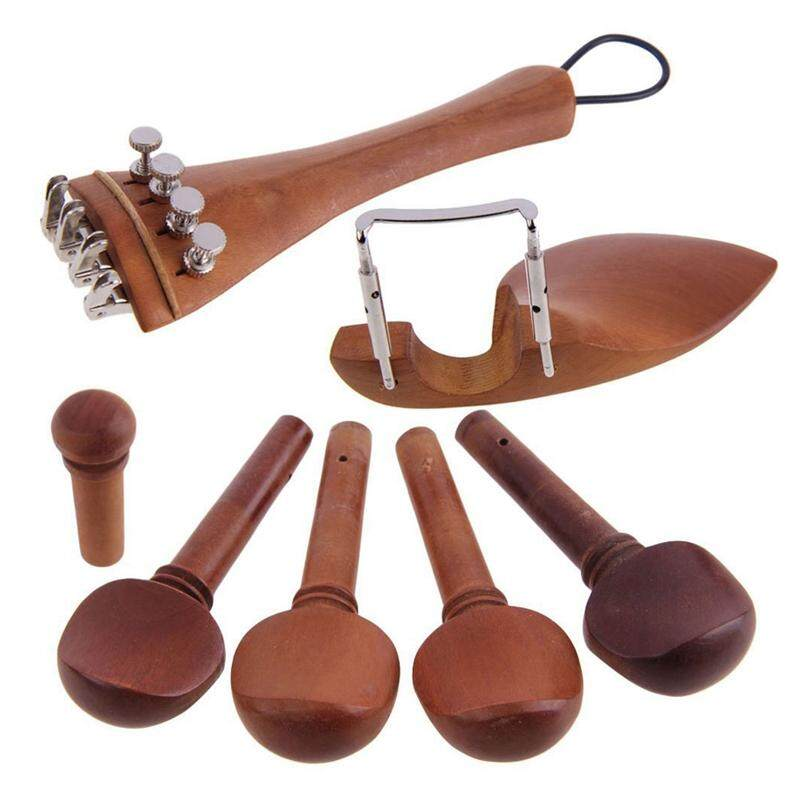 A Natural Jujube wood 4/4 violin Parts accessories Set of Fine-Tuning, Chinrest Chin Rest, Strings, Tail Nail, Tail Rope, Screw, Drawplates, Knob