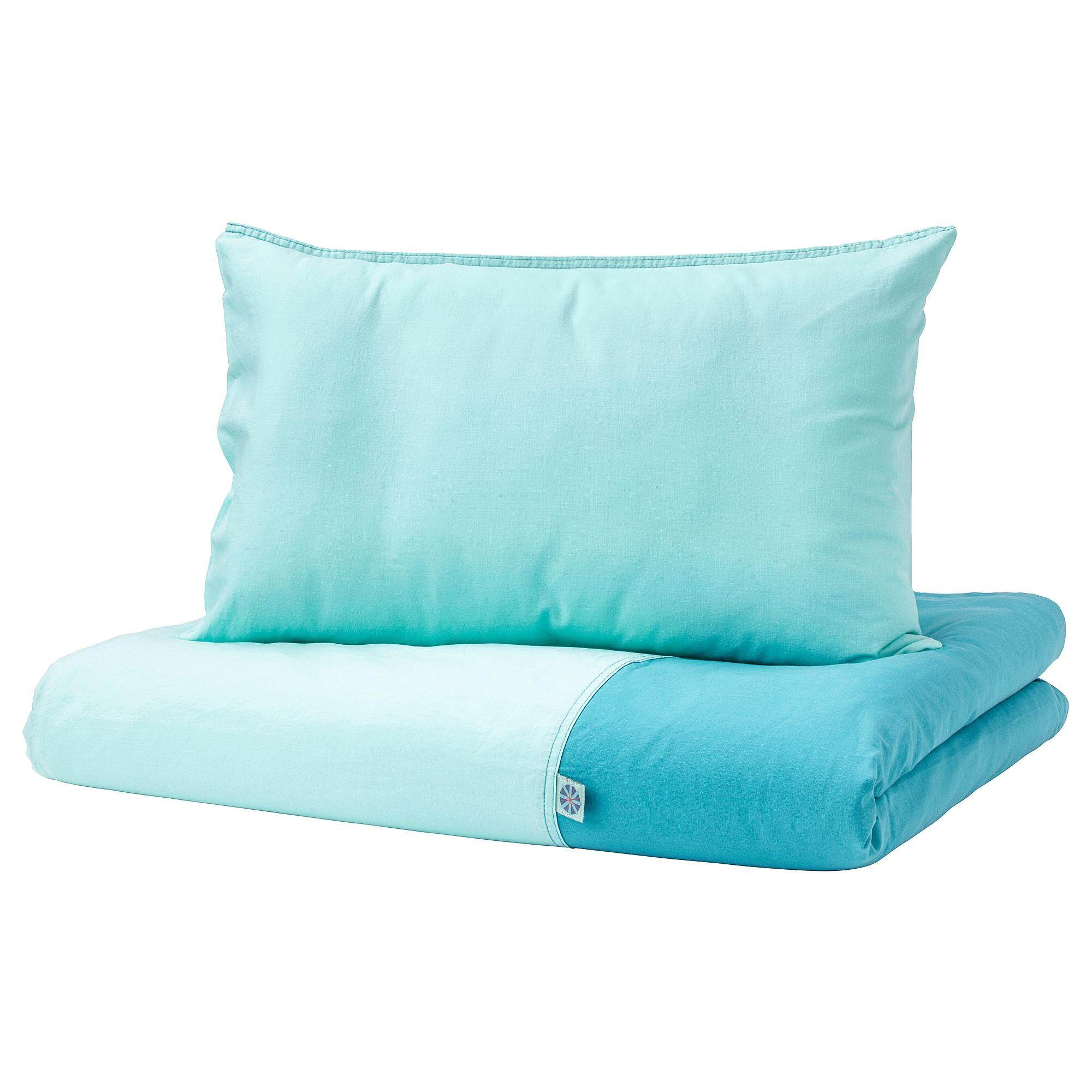 Tillgiven Quilt Cover/pillowcase For Cot Turquoise 110x125/35x55 Cm By Eightynine.