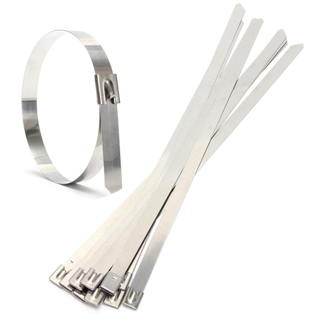 10 pcs 0.39 x 15.75 Stainless Steel Metal Cable Zip Tie Wrap Exhaust Straps
