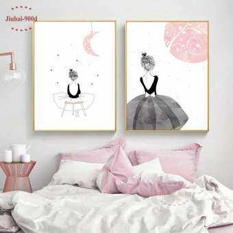 2 PCs 30X42 ซม. Unframed Nordic หญิงรูปภาพพิมพ์บนผ้าใบภาพวาดโปสเตอร์, รูปภาพติดผนังสำหรับของตกแต่งบ้-