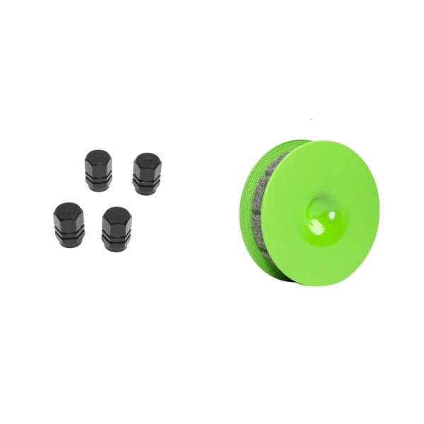 4PCS Alu Valve Caps for Tires of Bicycle, Motorcycle, Car-Black with Bicycle Chain Oiler Lubricator